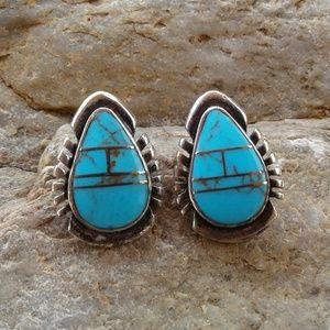 Sterling silver Turquoise inlaid earrings